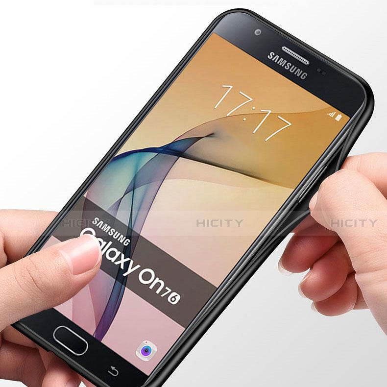 Silikon Schutzhülle Rahmen Tasche Hülle Spiegel mit Fingerring Ständer für Samsung Galaxy J7 Prime groß