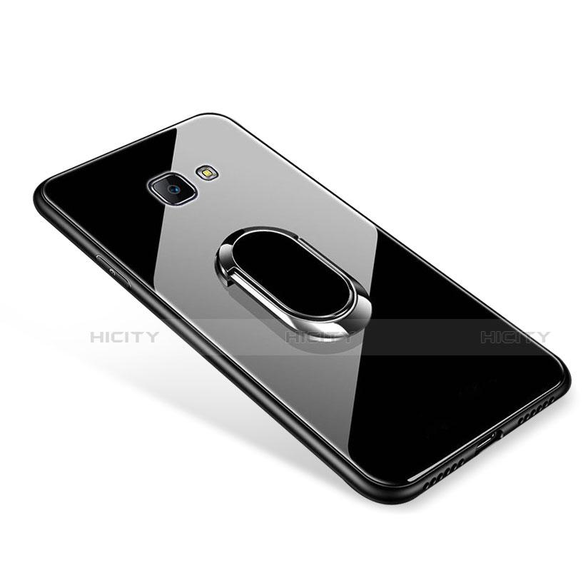 Silikon Schutzhülle Rahmen Tasche Hülle Spiegel mit Fingerring Ständer für Samsung Galaxy J7 Prime Schwarz Plus