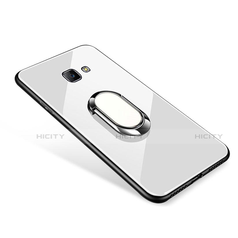 Silikon Schutzhülle Rahmen Tasche Hülle Spiegel mit Fingerring Ständer für Samsung Galaxy J7 Prime Weiß Plus