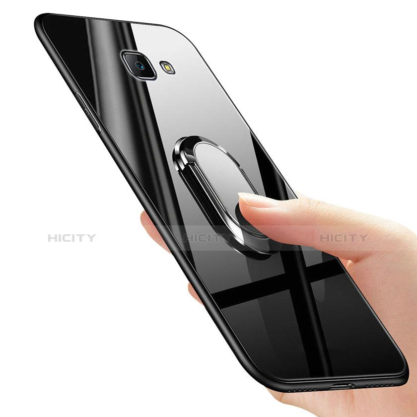 Silikon Schutzhülle Rahmen Tasche Hülle Spiegel mit Fingerring Ständer für Samsung Galaxy On7 (2016) G6100 groß