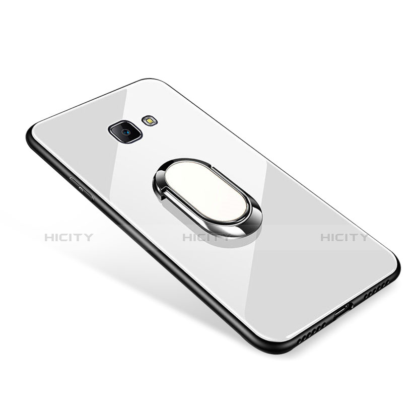Silikon Schutzhülle Rahmen Tasche Hülle Spiegel mit Fingerring Ständer für Samsung Galaxy On7 (2016) G6100 Weiß Plus