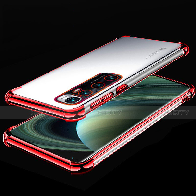 Silikon Schutzhülle Ultra Dünn Flexible Tasche Durchsichtig Transparent H04 für Xiaomi Mi 10 Ultra Rot Plus