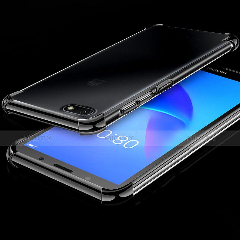Silikon Schutzhülle Ultra Dünn Tasche Durchsichtig Transparent H01 für Huawei Y5 (2018) Schwarz Plus