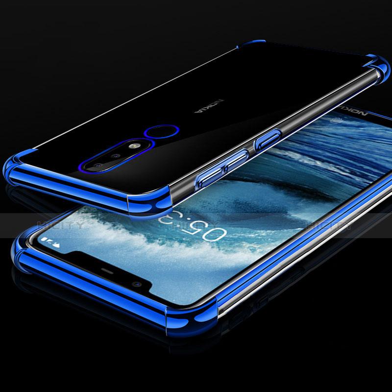 Silikon Schutzhülle Ultra Dünn Tasche Durchsichtig Transparent H01 für Nokia X5 Blau Plus