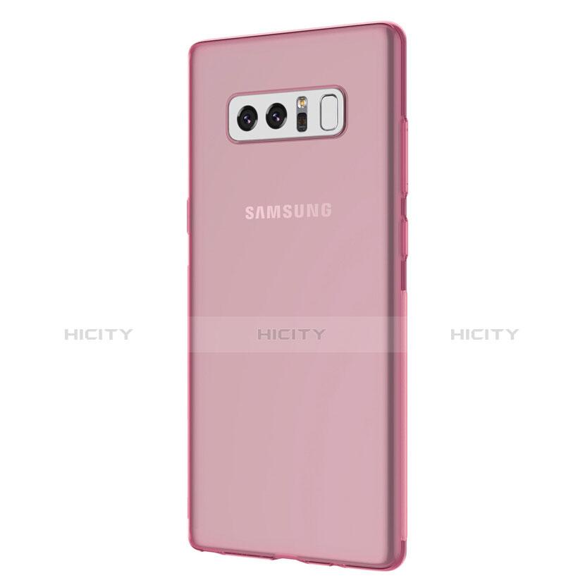 Silikon Schutzhülle Ultra Dünn Tasche Durchsichtig Transparent H01 für Samsung Galaxy Note 8 Rosa groß