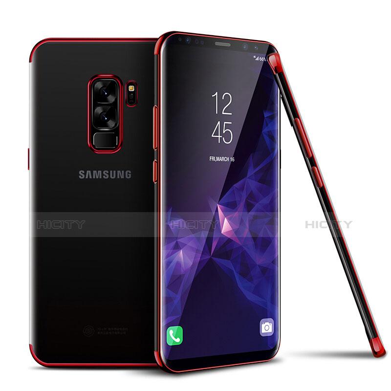 Silikon Schutzhülle Ultra Dünn Tasche Durchsichtig Transparent H01 für Samsung Galaxy S9 Plus Rot Plus