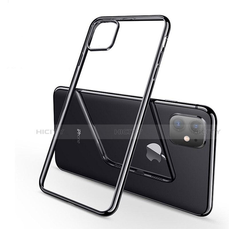 Silikon Schutzhülle Ultra Dünn Tasche Durchsichtig Transparent H03 für Apple iPhone 11 Schwarz Plus
