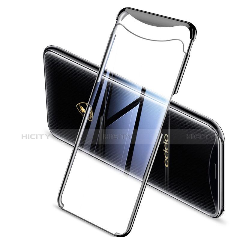 Silikon Schutzhülle Ultra Dünn Tasche Durchsichtig Transparent H04 für Oppo Find X Schwarz Plus