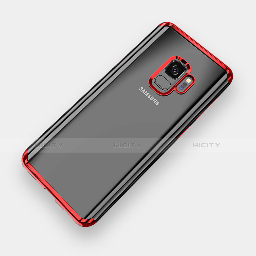 Silikon Schutzhülle Ultra Dünn Tasche Durchsichtig Transparent H04 für Samsung Galaxy S9 Rot Plus