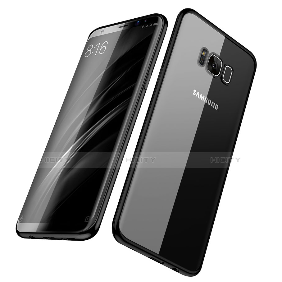 Silikon Schutzhülle Ultra Dünn Tasche Durchsichtig Transparent H06 für Samsung Galaxy S8 Plus Schwarz groß
