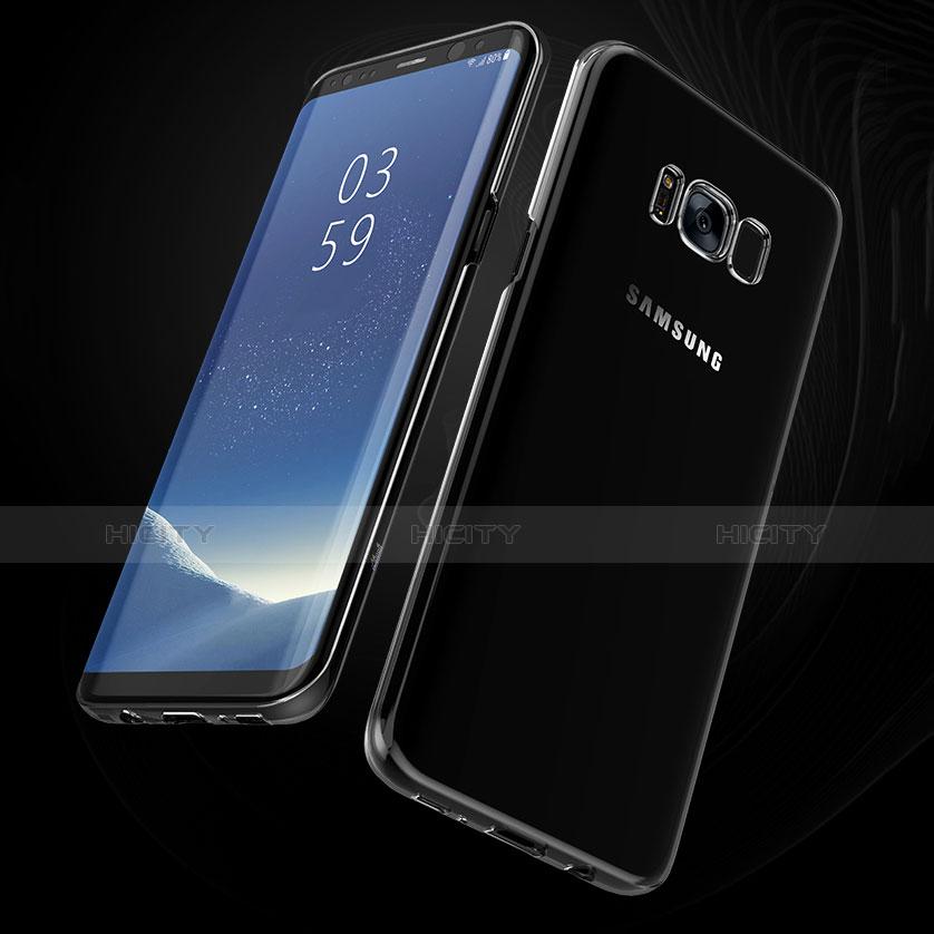 Silikon Schutzhülle Ultra Dünn Tasche Durchsichtig Transparent H09 für Samsung Galaxy S8 Plus Schwarz groß