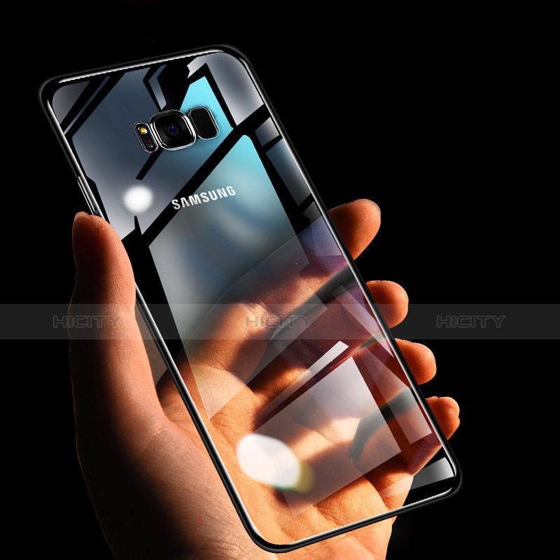 Silikon Schutzhülle Ultra Dünn Tasche Durchsichtig Transparent H09 für Samsung Galaxy S8 Schwarz groß