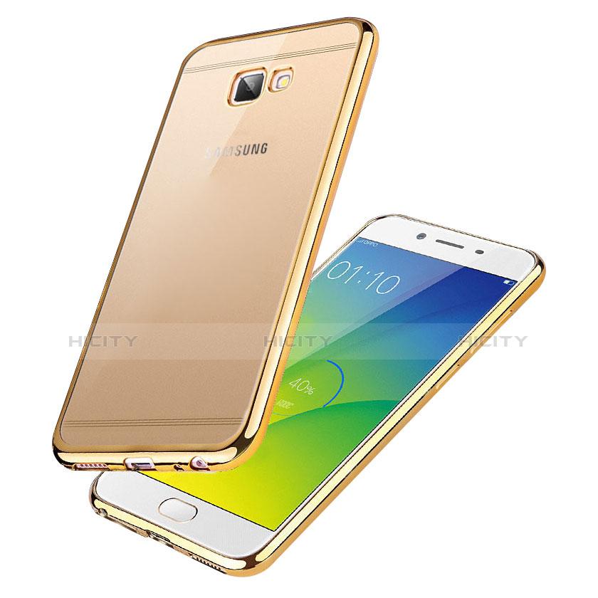 Silikon Schutzhülle Ultra Dünn Tasche Durchsichtig Transparent R01 für Samsung Galaxy On7 (2016) G6100 Gold groß