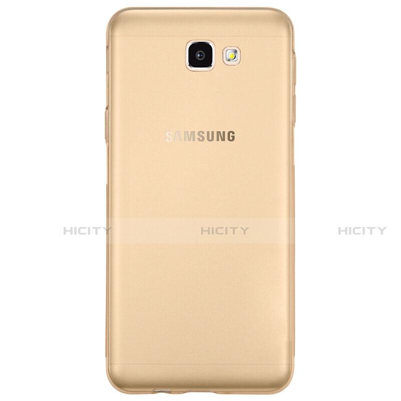 Silikon Schutzhülle Ultra Dünn Tasche Durchsichtig Transparent T02 für Samsung Galaxy J7 Prime Gold groß