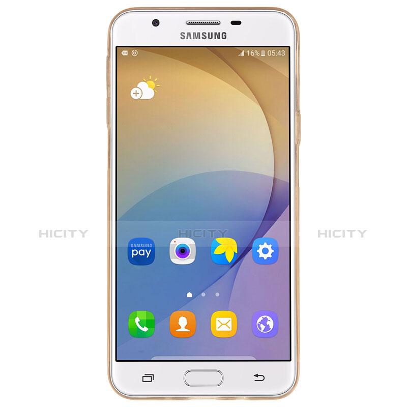 Silikon Schutzhülle Ultra Dünn Tasche Durchsichtig Transparent T02 für Samsung Galaxy On7 (2016) G6100 Gold groß