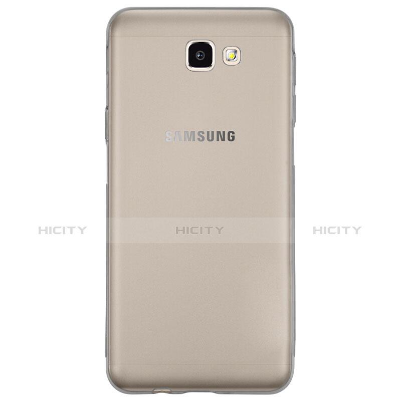 Silikon Schutzhülle Ultra Dünn Tasche Durchsichtig Transparent T02 für Samsung Galaxy On7 (2016) G6100 Grau groß