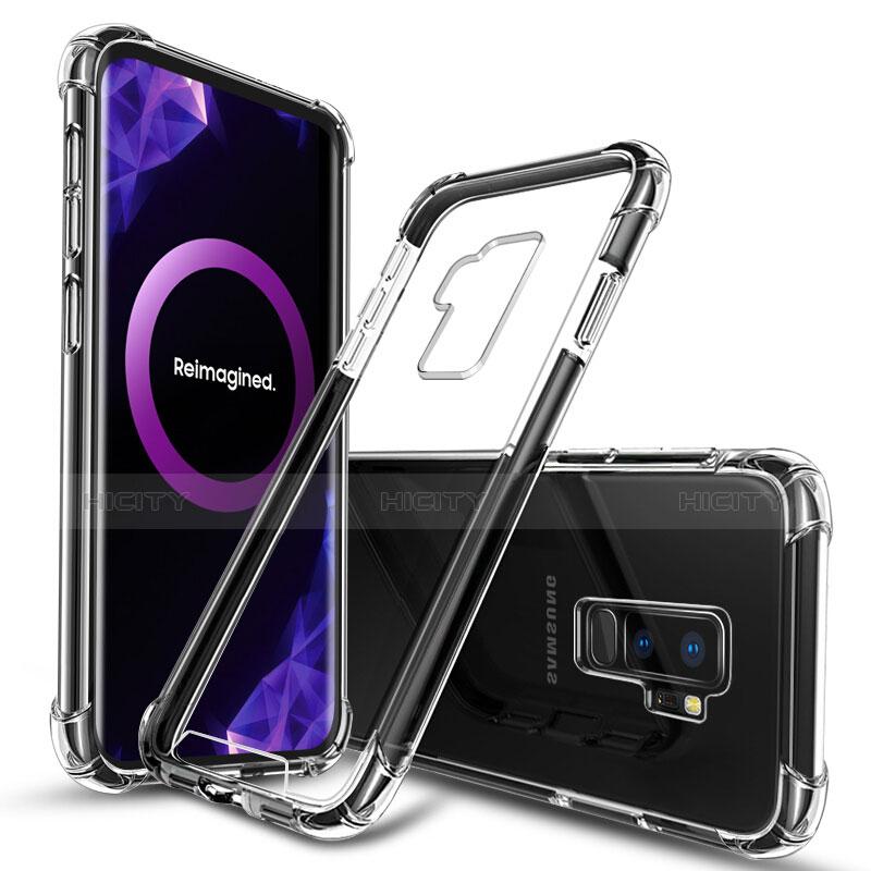 Silikon Schutzhülle Ultra Dünn Tasche Durchsichtig Transparent T03 für Samsung Galaxy S9 Plus Schwarz Plus