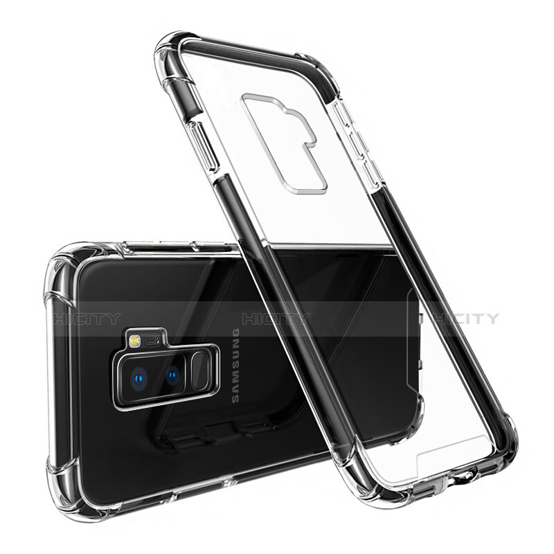 Silikon Schutzhülle Ultra Dünn Tasche Durchsichtig Transparent T03 für Samsung Galaxy S9 Plus Schwarz groß