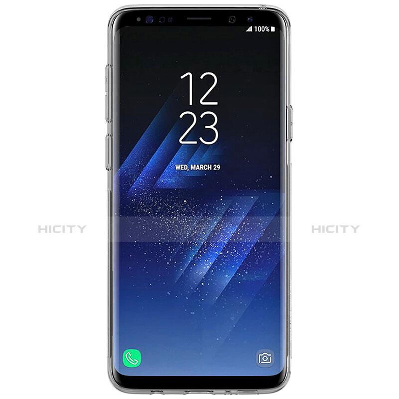 Silikon Schutzhülle Ultra Dünn Tasche Durchsichtig Transparent T07 für Samsung Galaxy S9 Grau groß