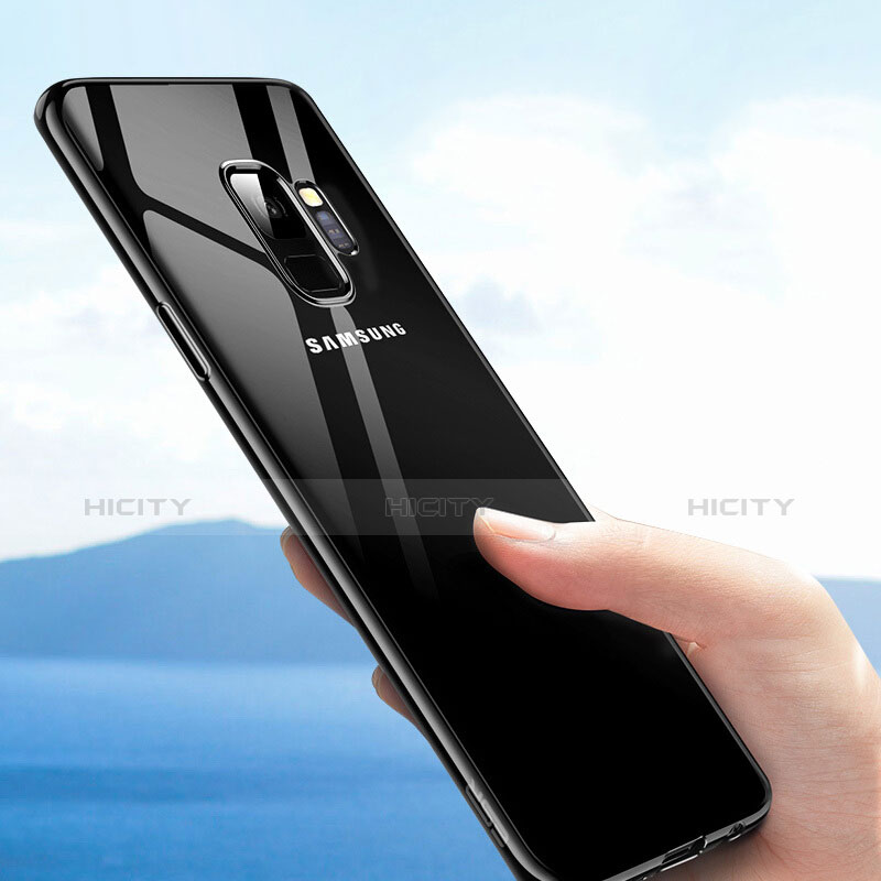 Silikon Schutzhülle Ultra Dünn Tasche Durchsichtig Transparent T09 für Samsung Galaxy S9 Plus Schwarz groß