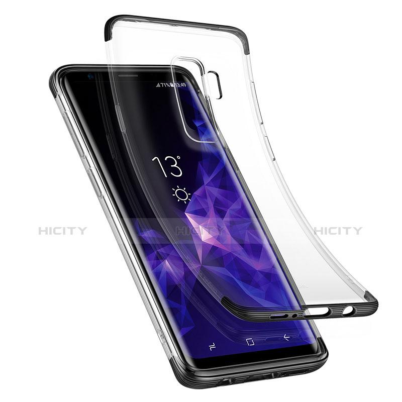 Silikon Schutzhülle Ultra Dünn Tasche Durchsichtig Transparent T11 für Samsung Galaxy S9 Plus Schwarz groß