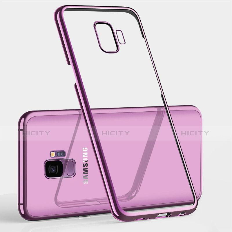 Silikon Schutzhülle Ultra Dünn Tasche Durchsichtig Transparent T12 für Samsung Galaxy S9 Plus Violett groß