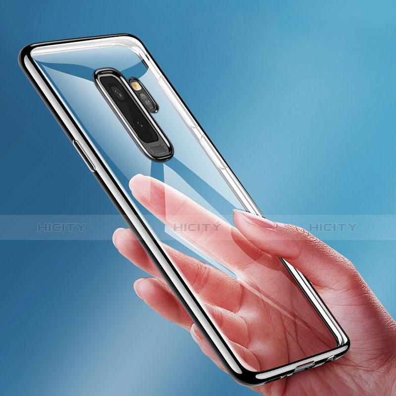 Silikon Schutzhülle Ultra Dünn Tasche Durchsichtig Transparent T15 für Samsung Galaxy S9 Plus Schwarz groß
