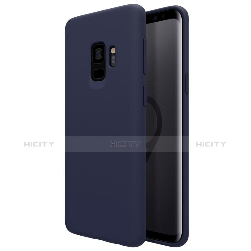 Silikon Schutzhülle Ultra Dünn Tasche S03 für Samsung Galaxy S9 Blau groß
