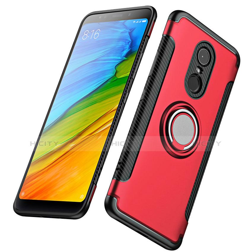 Silikon Schutzhülle und Kunststoff Tasche mit Fingerring Ständer für Xiaomi Redmi 5 Plus Rot Plus