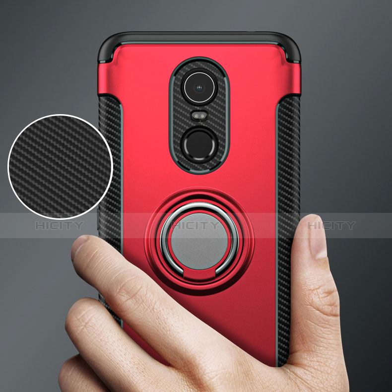 Silikon Schutzhülle und Kunststoff Tasche mit Fingerring Ständer für Xiaomi Redmi 5 Plus Rot groß