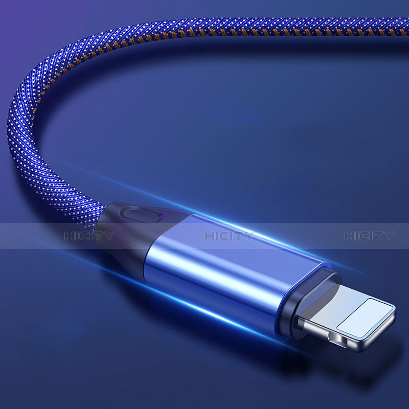 USB Ladekabel Kabel C04 für Apple iPhone 11 Blau Plus
