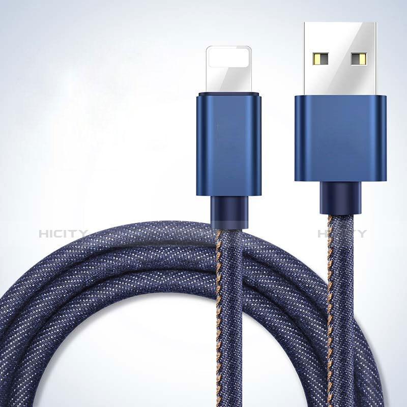 USB Ladekabel Kabel L04 für Apple iPhone 11 Pro Blau groß