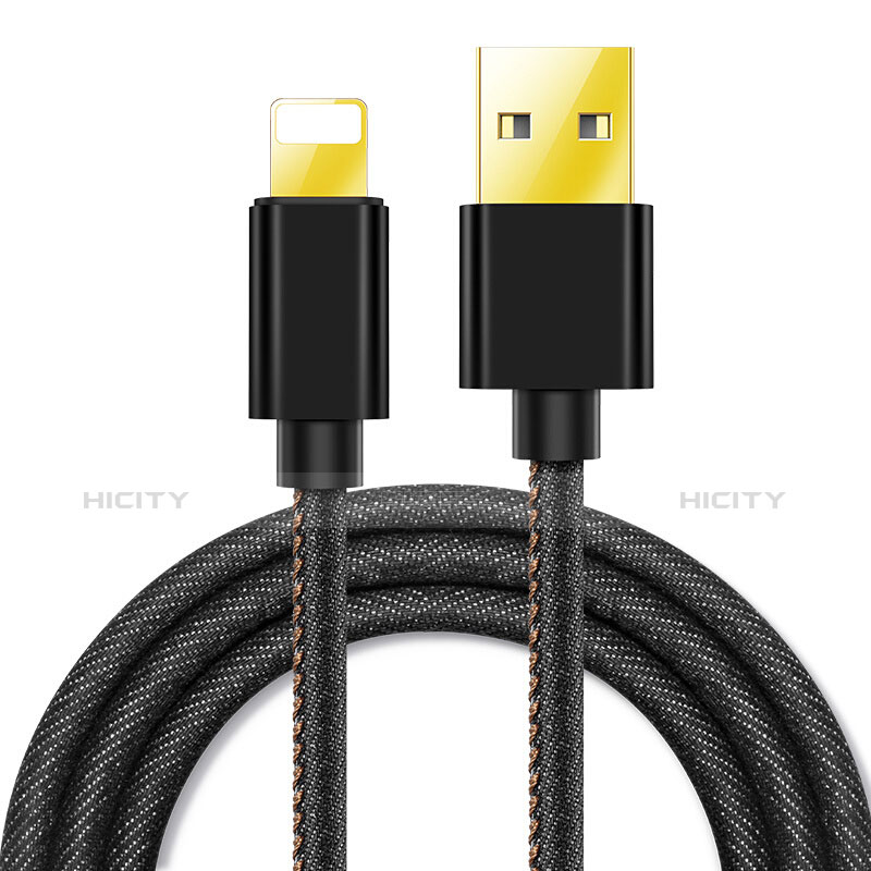 USB Ladekabel Kabel L04 für Apple iPhone 11 Schwarz Plus