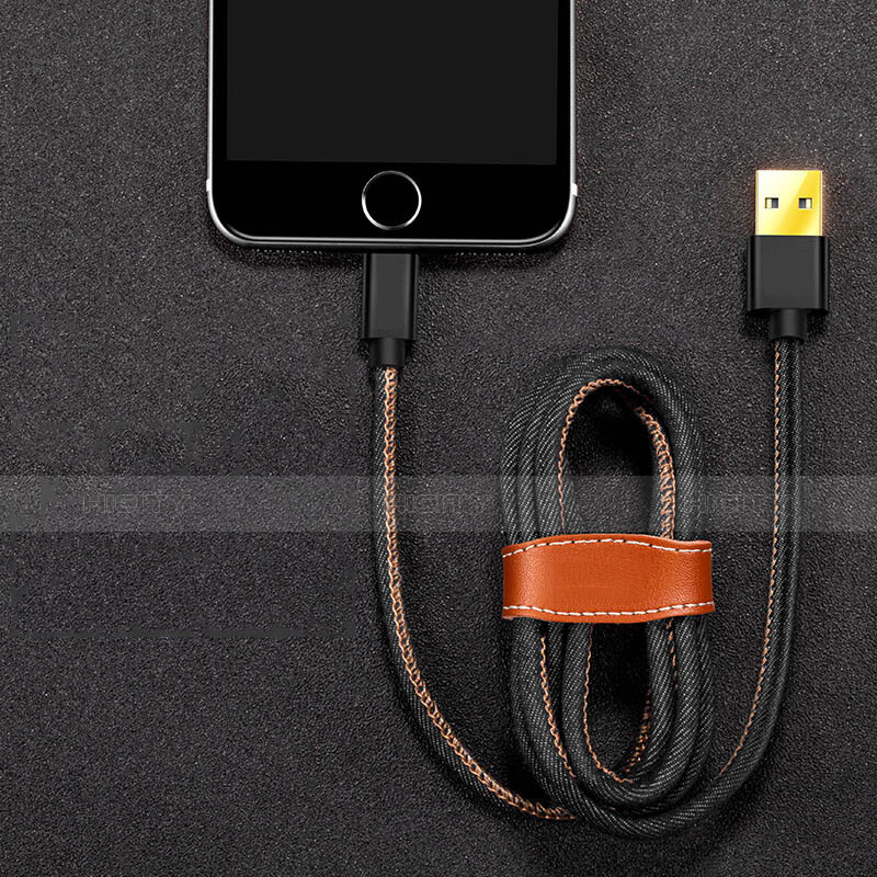 USB Ladekabel Kabel L04 für Apple iPhone 11 Schwarz groß