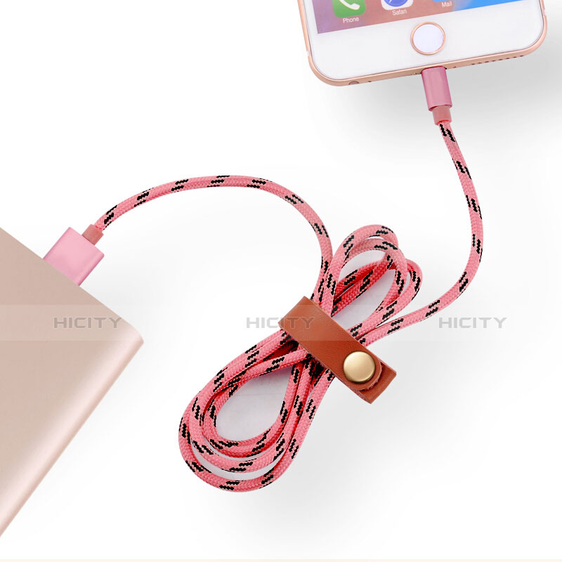 USB Ladekabel Kabel L05 für Apple iPhone 11 Pro Rosa groß