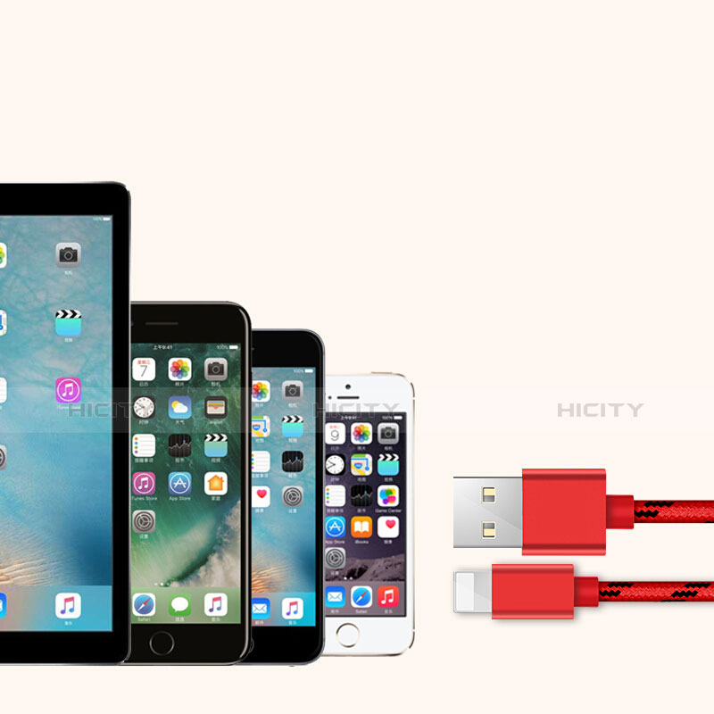 USB Ladekabel Kabel L05 für Apple iPhone 11 Rot groß