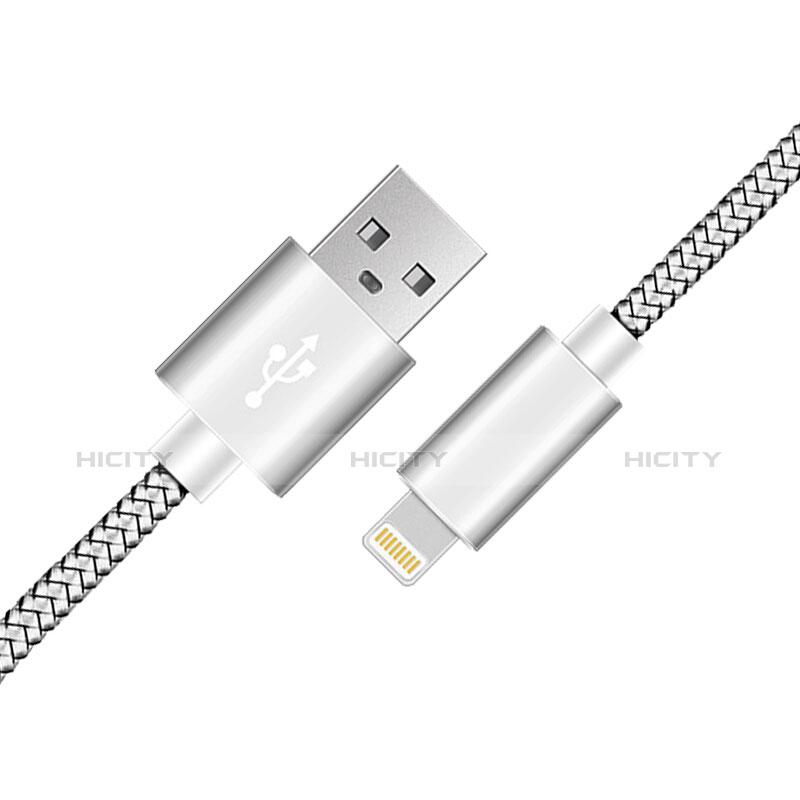 USB Ladekabel Kabel L07 für Apple iPhone 11 Pro Silber groß