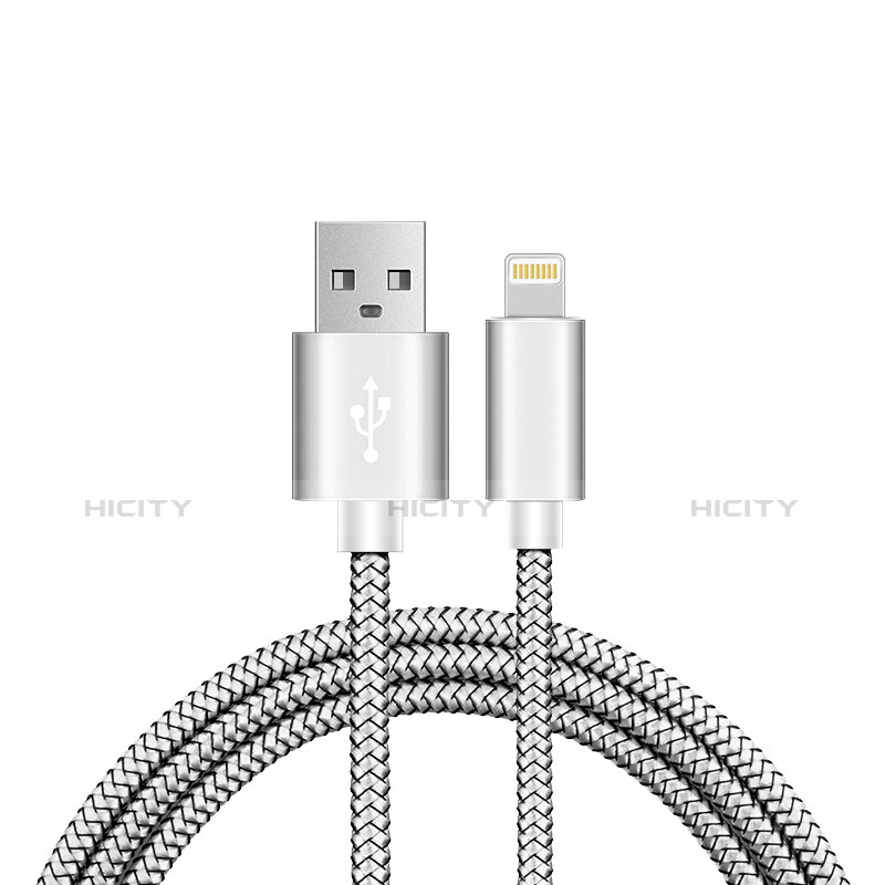 USB Ladekabel Kabel L07 für Apple iPhone 11 Silber Plus