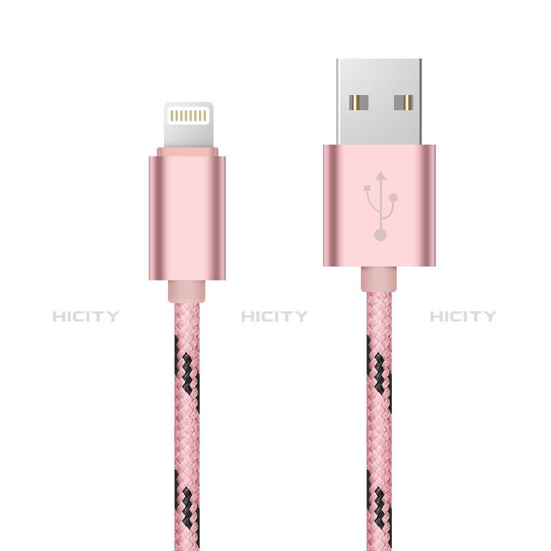 USB Ladekabel Kabel L10 für Apple iPhone 11 Pro Rosa groß